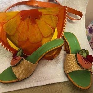 Summer Sandals and Matching Handbag, Size 6 1/2